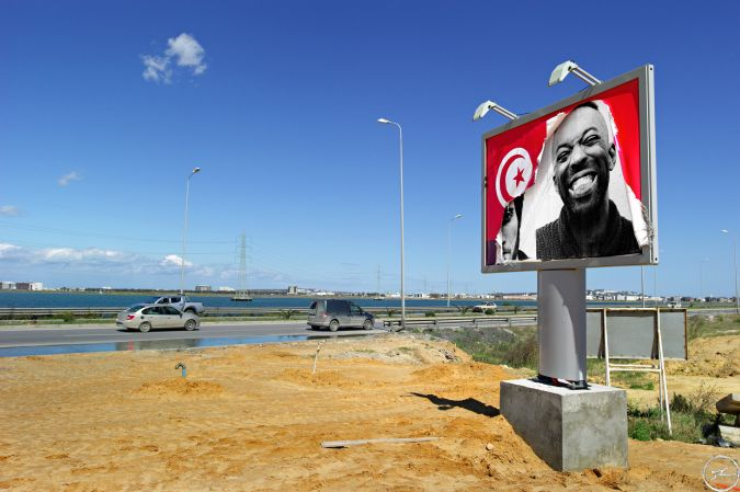 INSIDE OUT PROJECT Tunisia, Ex Ben Ali Billboard on La Goulette Road/  2011