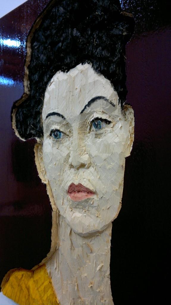 Stephan Balkenhol, Relief Frau, 2014 - boya ve ahşap - 80x60 cm